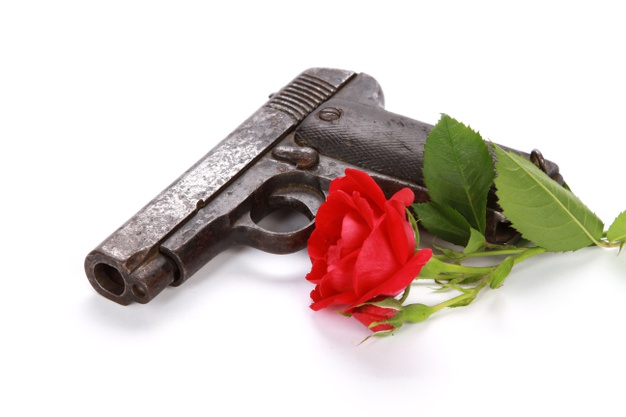 a gun and a red rose