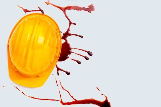 Construction helmet with blood